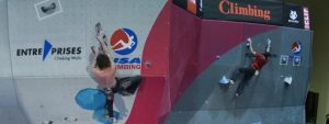 Two climbers during the ABS Nationals Qualifiers