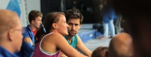 Anna Stöhr and Kilian Fischhuber after winning the European Bouldering Championship