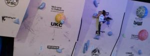 Le Neve in an IFSC Bouldering World Cup