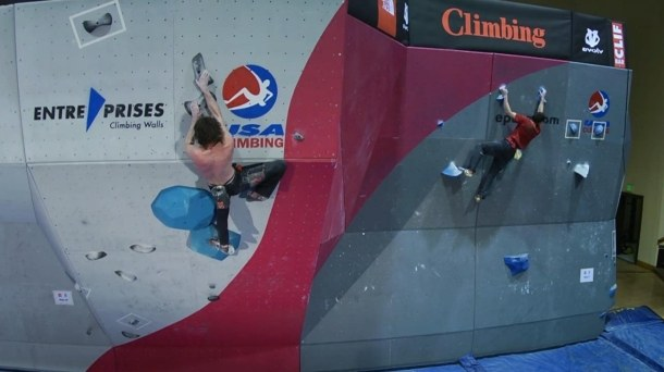 Two climbers competing at the ABS Nationals