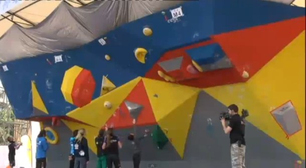 Climbers during the 2012 Chongqing Bouldering World Cup
