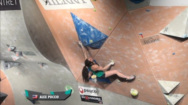 Alex Puccio during the Tierra Boulder Battle