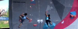 Ozawa and Williams bouldering in Vail