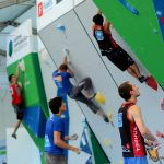 Climbers during the qualifying round