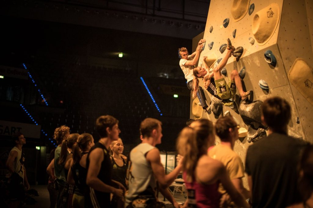 Climbers warming up in the Athlete Louge. Pic by Christian Waldegger.